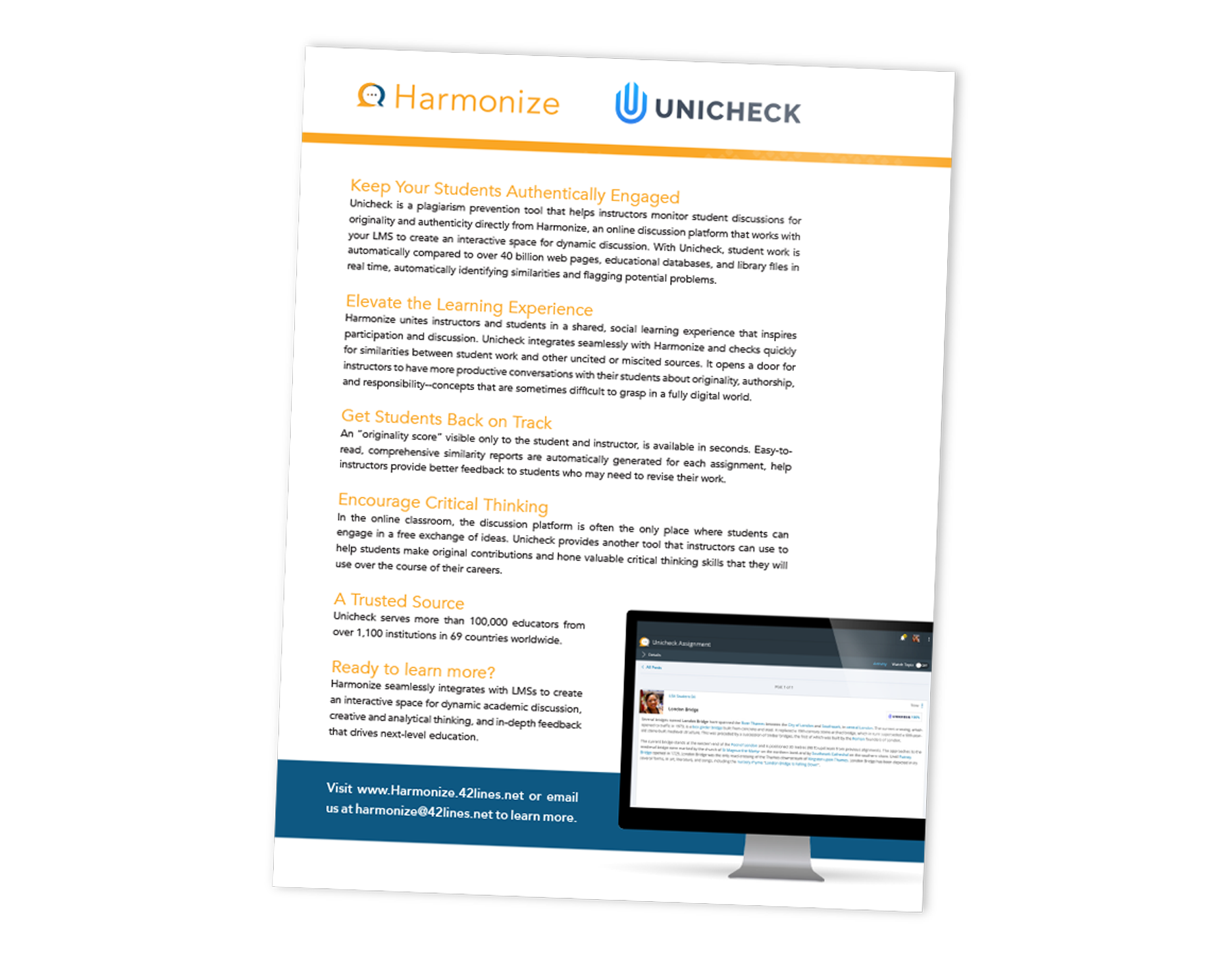 Keep Your Students Authentically Engaged | Unicheck Integration for Harmonize